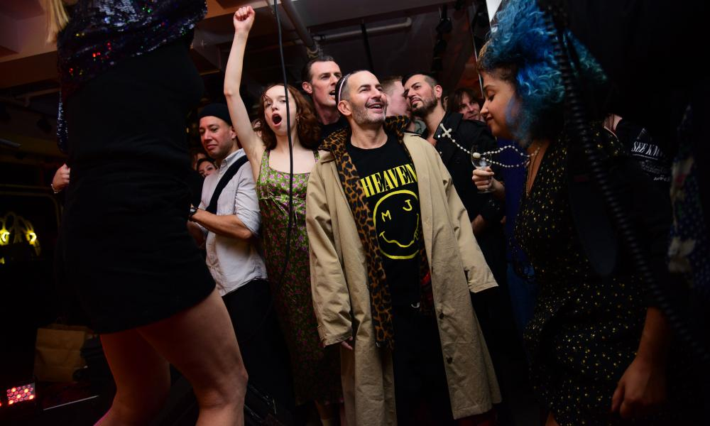 Marc Jacobs, wearing one of his T-shirts, attends the opening of his new store in New York.