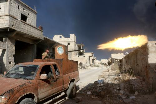 Rebel soldiers in south-east Aleppo. Doctors in the rebel-held east of the city have urged Barack Obama to press the regime to stop bombing hospitals