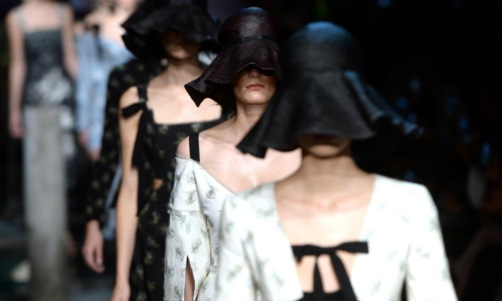 Models on the catwalk at the Erdem show at London fashion week on Monday.