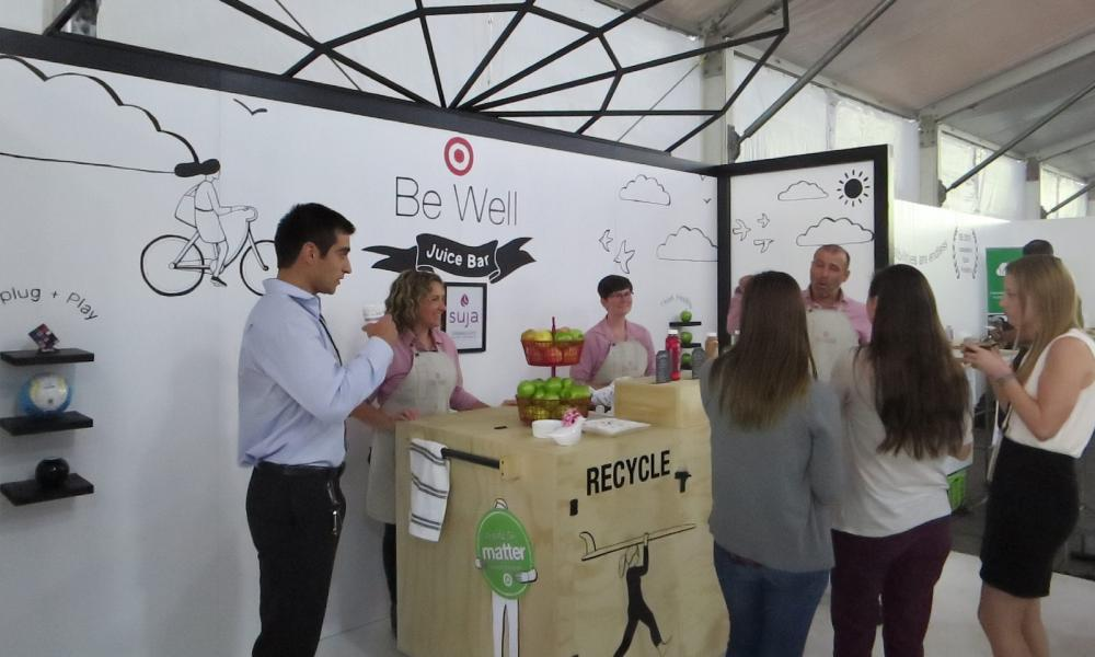 Suja Juice Bar is popular among conference attendees because it hands out endless bottles of organic, cold-pressed juices.