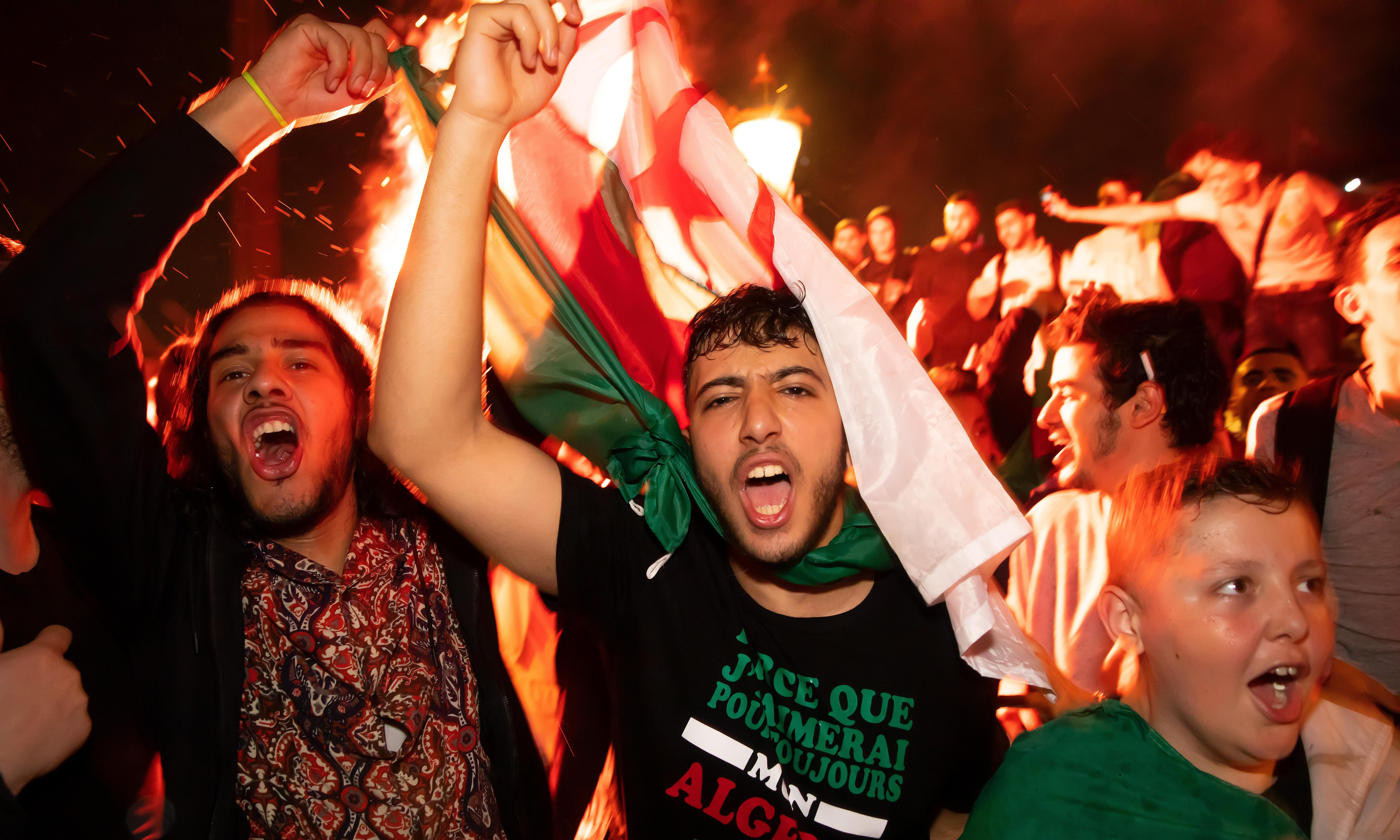 Algeria fans celebrate football victory in the streets of London