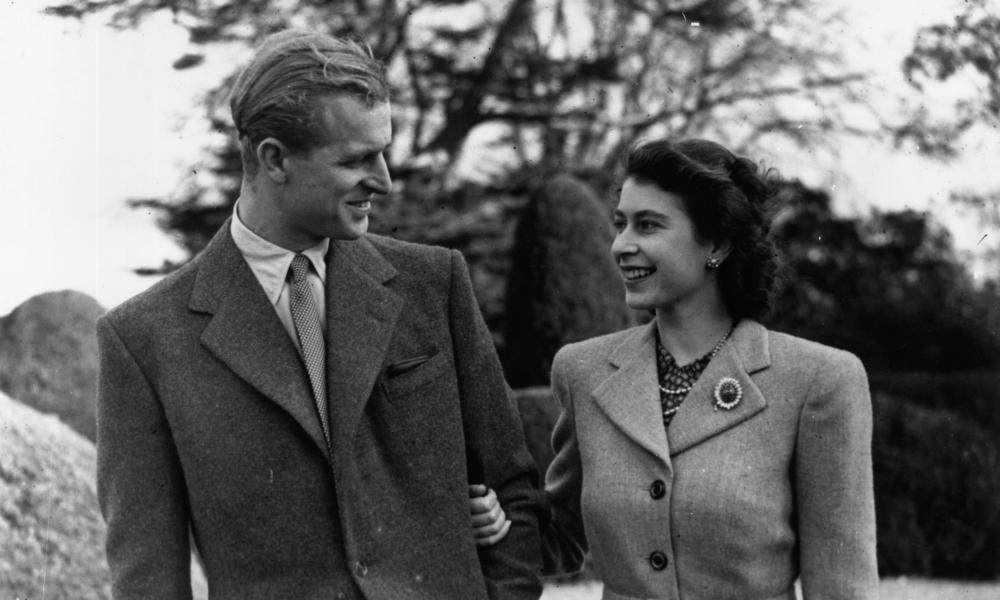 The Duke of Edinburgh and Princess Elizabeth at Broadlands, Hampshire, during their honeymoon in November 1947