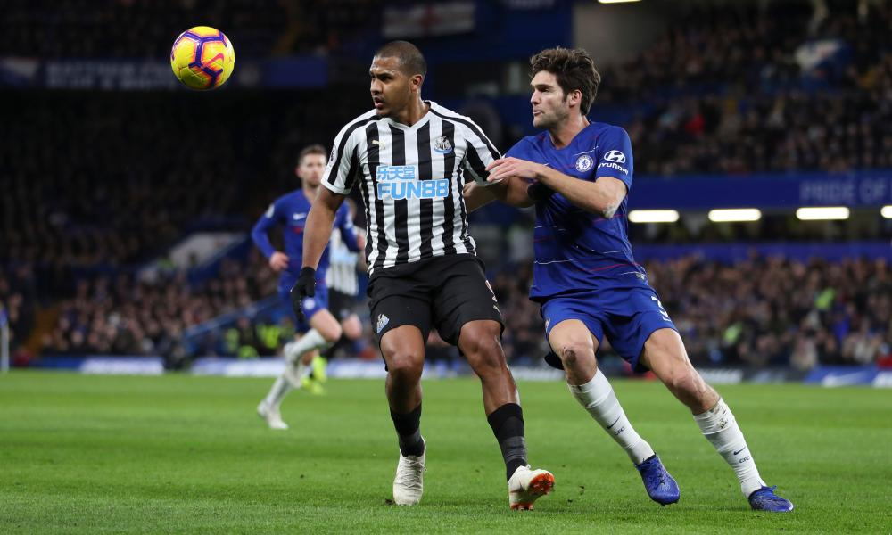 Rondon holds off Marcos Alonso.