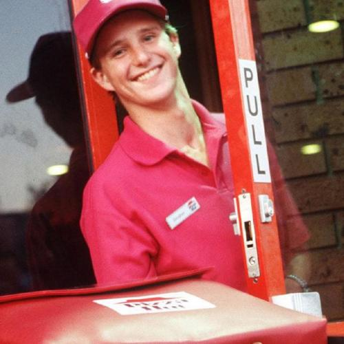 Diarmid Heidenreich as Douggie the Pizza Guy in a series of ads from the 1990s.