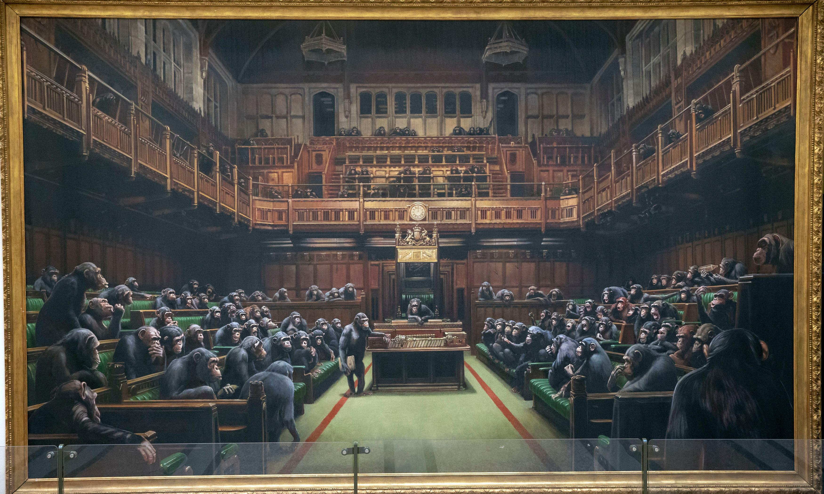 Auction for Banksy artwork depicting MPs as chimpanzees