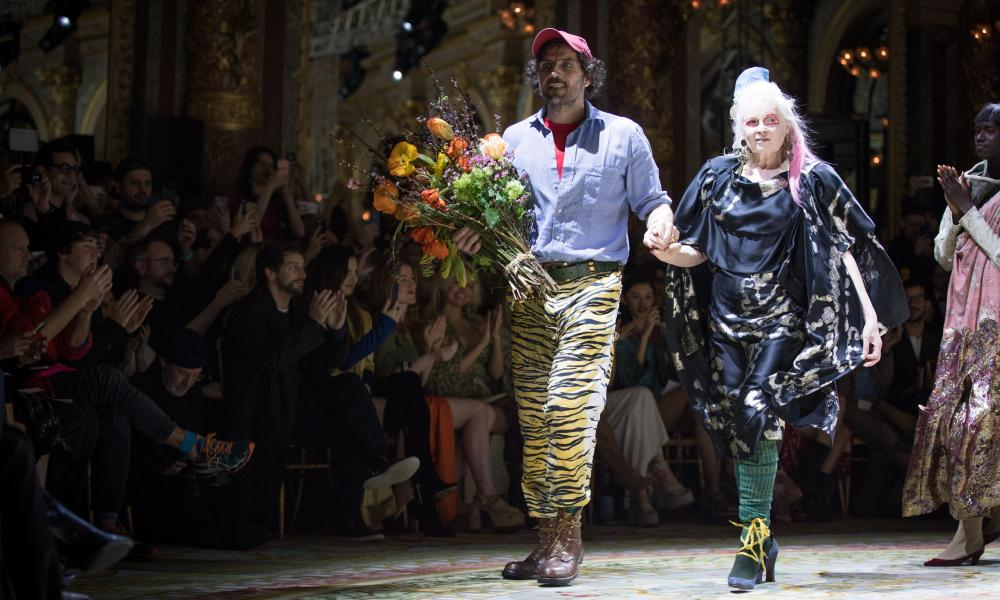 Vivienne Westwood with her husband, Andreas Kronthaler, at Paris fashion week.
