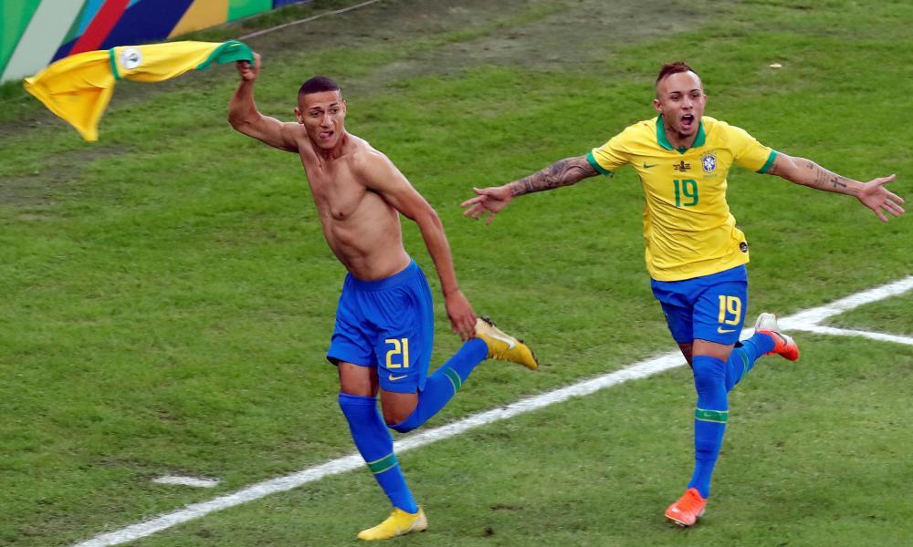 Everton's Richarlison celebrates with Brazil's Everton.