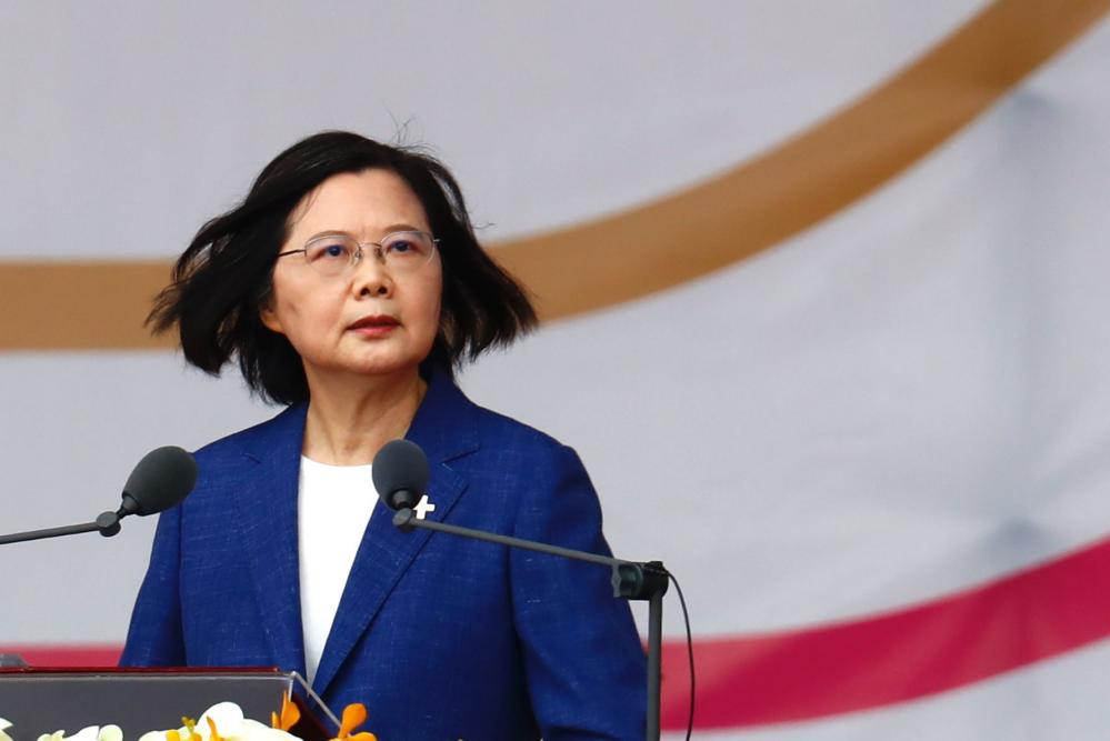 Tsai Ing-wen delivers her speech during the national day celebrations