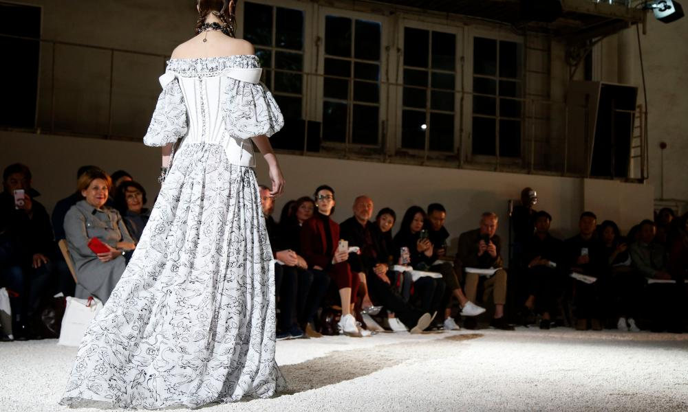 Lace peasant dress on catwalk for McQueen in Paris