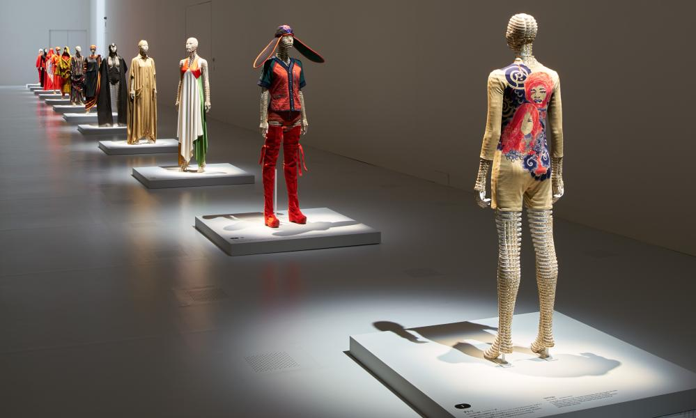 Dummies dressed in Miyake Issey clothes as part of the exhibition at the National Art Centre Tokyo.