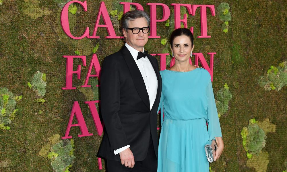 Livia Firth and her husband, Colin, at the Green Carpet fashion awards in Milan.