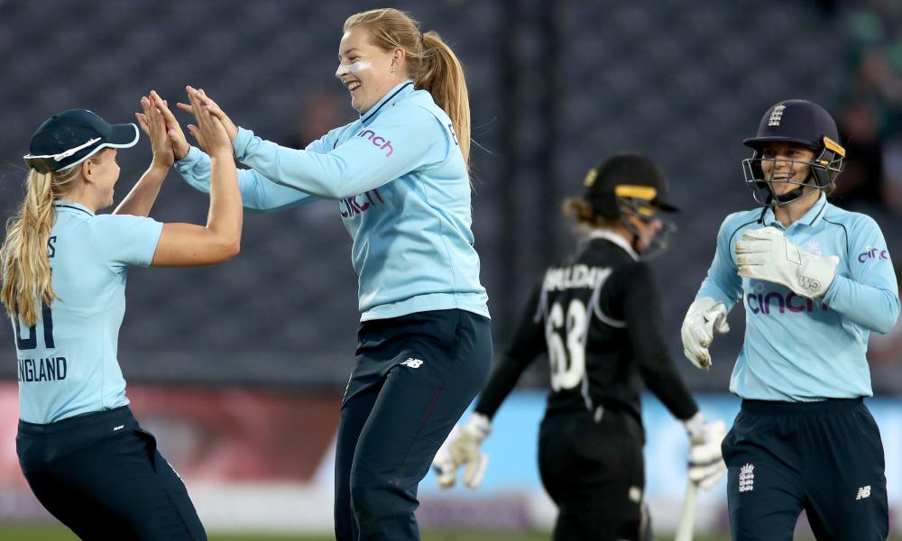 Sophie Ecclestone of England celebrates taking the wicket Brooke Halliday.