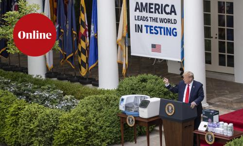 President Donald Trump speaks about the coronavirus during a press briefing in the Rose Garden of the White House, Monday, May 11, 2020, in Washington.
