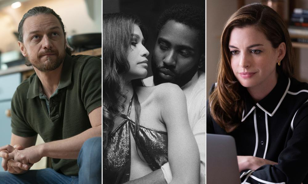 From left: James McAvoy in Together, Zendaya and John David Washington in Malcolm & Marie and Anne Hathaway in Locked Down.