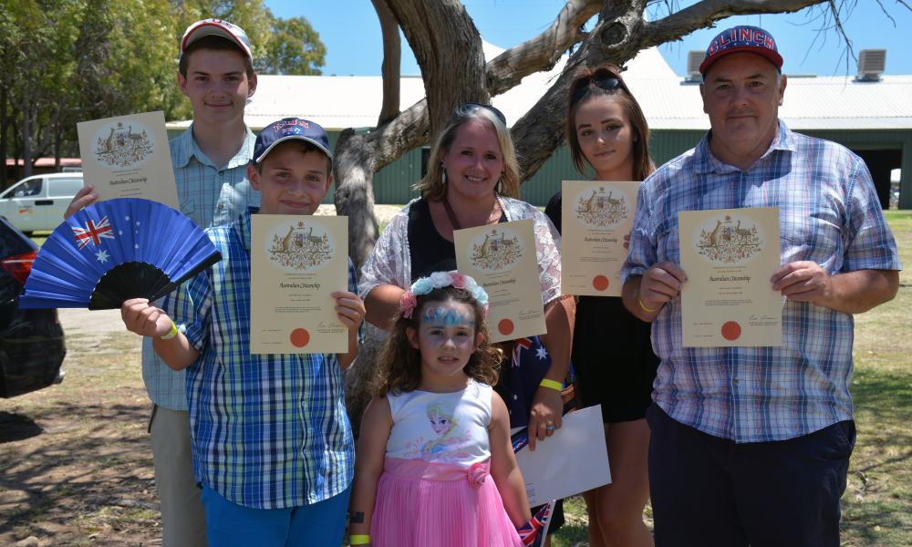 The Chambers family, who arrived in Perth from Wales ten years ago, are seen after becoming citizens during an Australia Day citizenship ceremony in the city of Waneroo, in Perth's north, Thursday, Jan. 26, 2017.