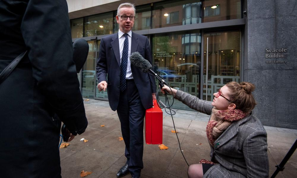 Michael Gove speaking outside the Department for Environment, Food and Rural Affairs offices in London.