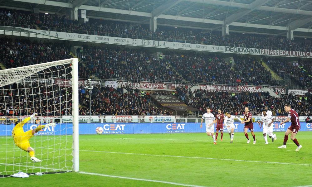 Andrea Belotti scores from the penalty spot.