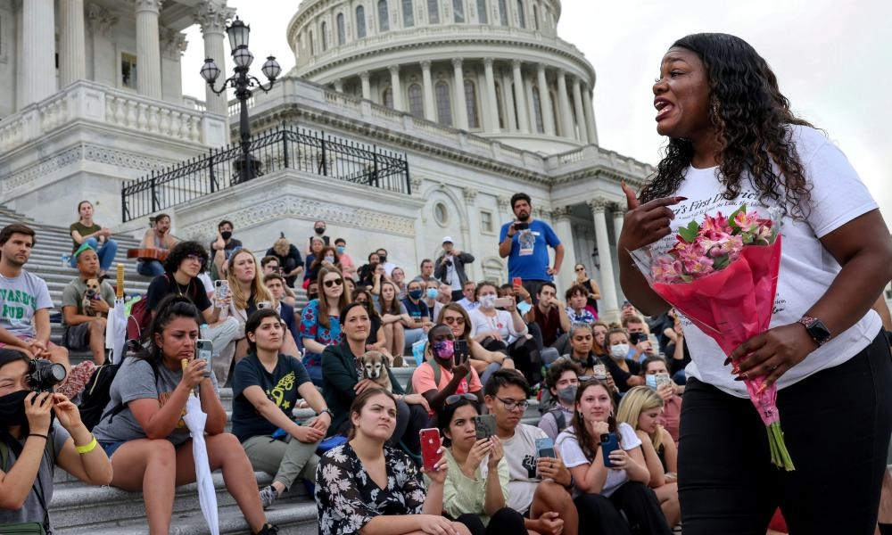 Missouri Congresswoman Cori Bush speaks to demonstrators, who joined her in protest against residential evictions, following the news that the CDC issued a new 60-day moratorium on residential evictions, on Capitol Hill in Washington, DC, on August 3.