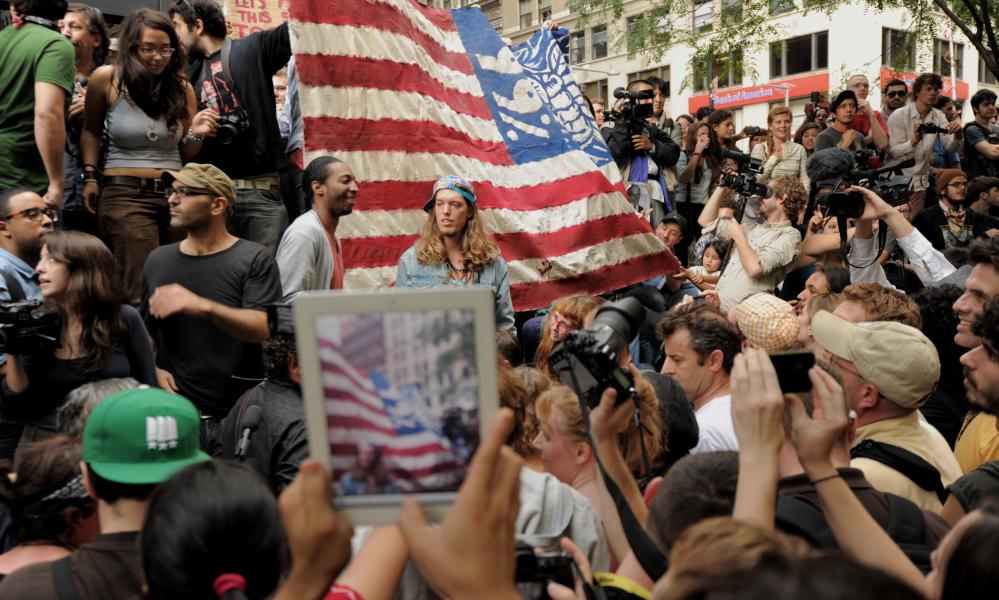 The Occupy Wall Street protest in Zuccotti Park, New York, September 2011.