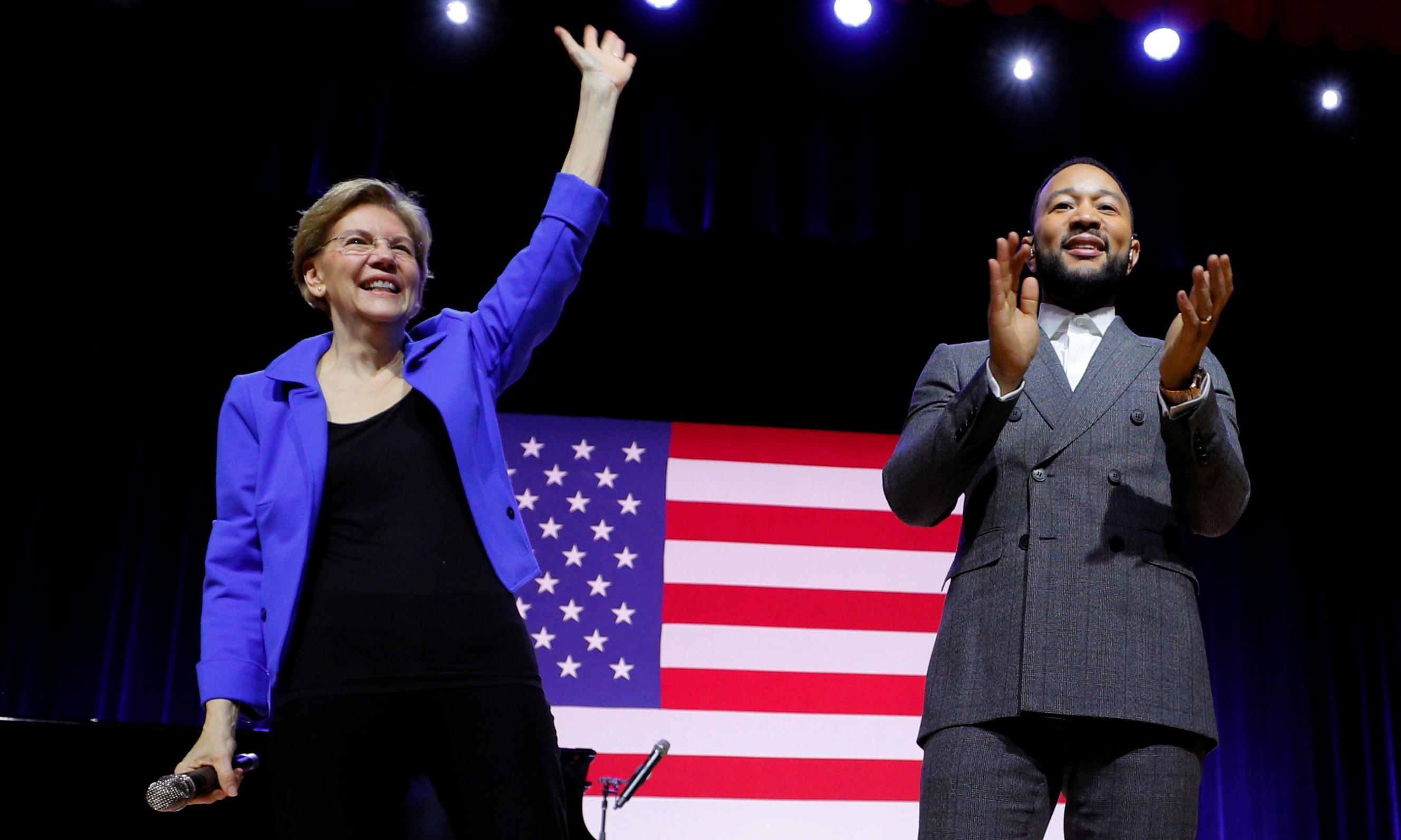 John Legend adds star power to Elizabeth Warren's primary push