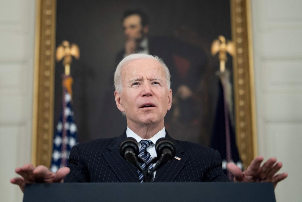 Joe Biden delivers a vaccination update at the White House on 6 April.