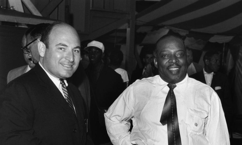 George Wein, left, and Count Basie at the Newport jazz festival in 1957.
