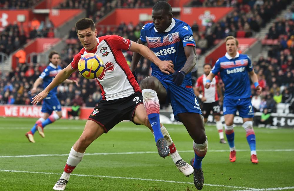 Guido Carrillo, left, in action here against Stoke, has failed to score since his club-record £19m arrival in January.