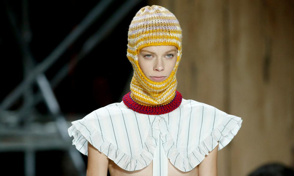 Model wearing a knitted balaclava at the Calvin Klein show at New York fashion week.