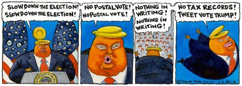 The Guardian's Steve Bell comments in his inimitable way about Donald Trump's tweet yesterday floating the idea of delaying the November election.