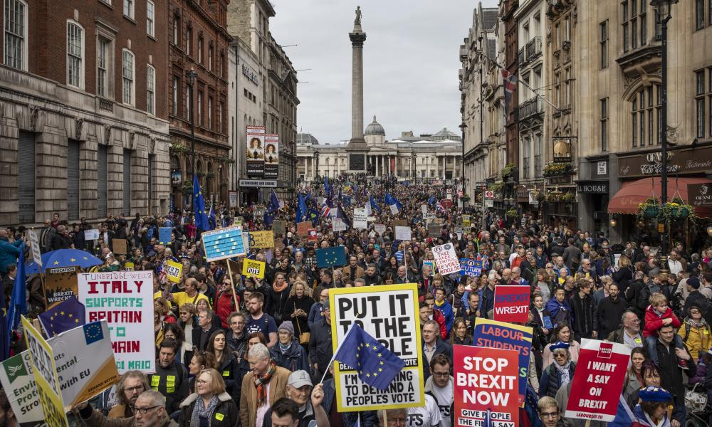 Thousands of protesters gathered in central London take part in the Put It To The People March.