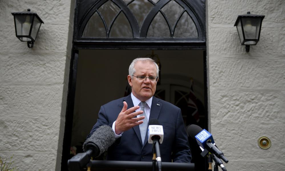Prime minister Scott Morrison addresses at Kirribilli House in Sydney, Friday, 15 October 2021.