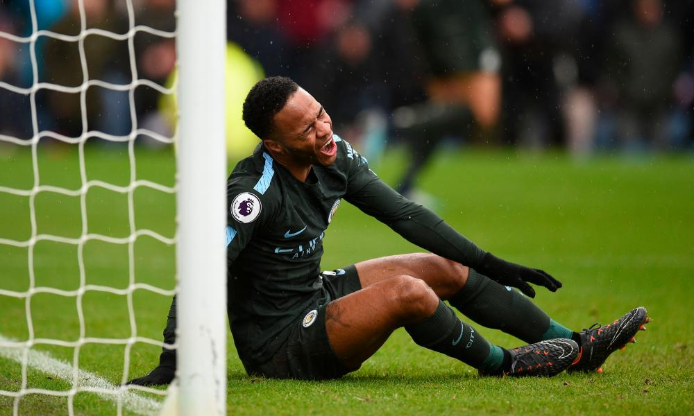 Raheem Sterling reacts to missing an open goal