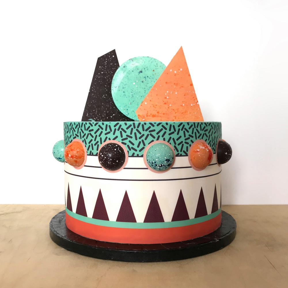 The turquoise, orange, brown and cream Rocky Cake from Ard Bakery.