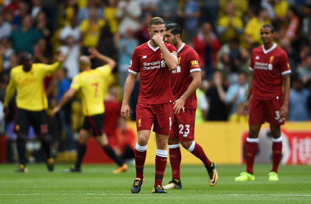Jordan Henderson looks dejected after the Watford goal.