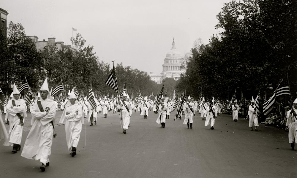 A 1927 Ku Klux Klan parade in Washington DC.