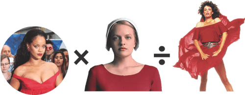 Composite image of Rihanna, Elisabeth Moss as Offred in The Handmaid's Tale, Kelly LeBrock in The Woman In Red