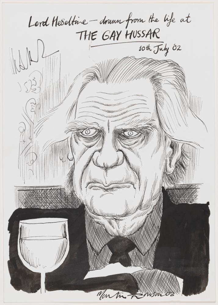 Michael Heseltine by Martin Rowson pen and ink, 10 July 2002.