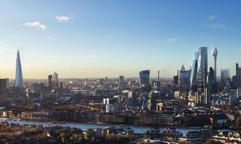 An artist's impression of the City of London skyline once the Tulip has been completed.