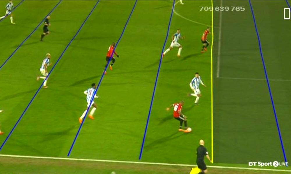 Manchester United's Juan Mata is ruled offside by the VAR against Huddersfield.