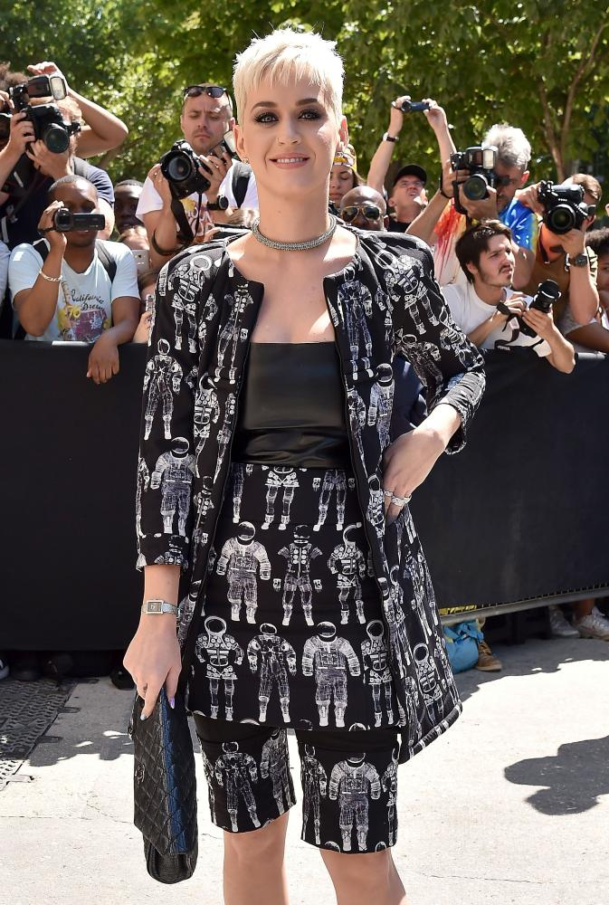 Katy Perry arriving at the Chanel show.