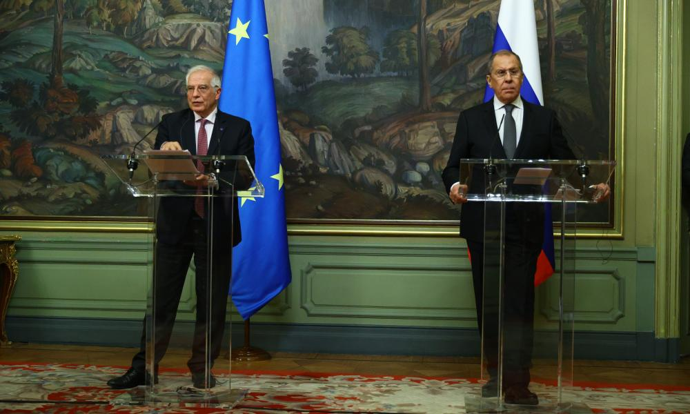 EU High Representative for Foreign Affairs and Security Policy, Josep Borrell (L) and Russian Foreign Minister Sergey Lavrov (R) hold a joint press conference following their meeting in Moscow, Russia on Friday.