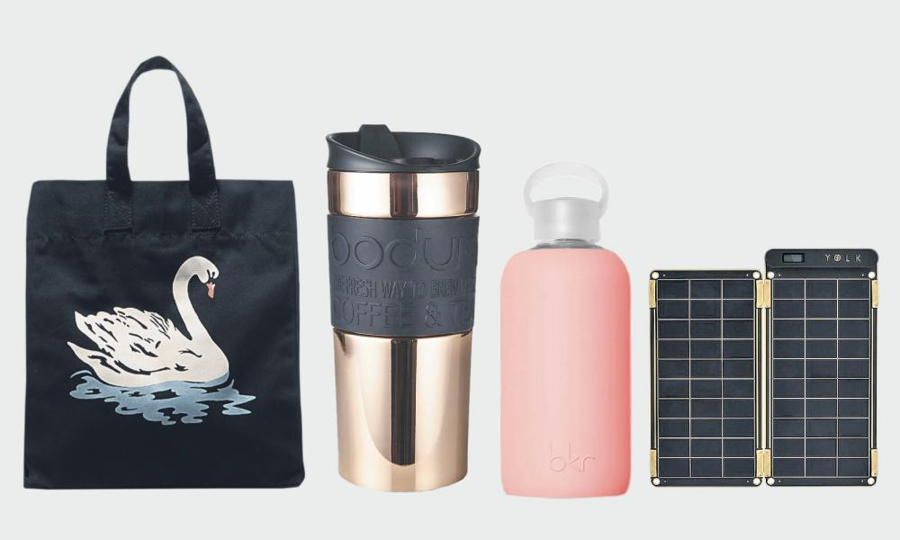 Above: A tote by queen of sustainability Stella McCartney (£195, stellamccartney.com) will store Bodum's sleek shiny coffee container (£30, Bodum.com), celeb favourite bkr's silicone-coated water bottle (£25, mybkr.com) and Yolk's solar charger (£99.99, yolkstation.com) to stay charged and eco on the go.