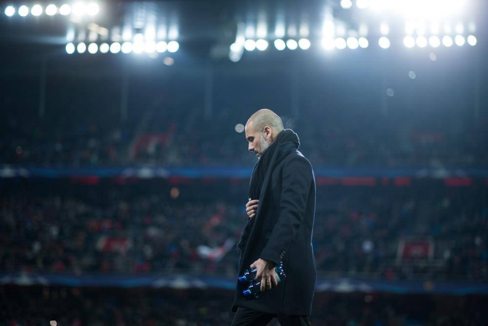 Pep Guardiola at St Jakob-Park.