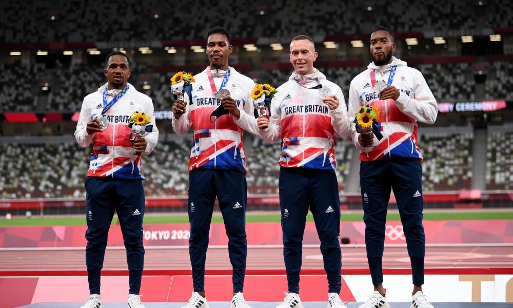 From left: CJ Ujah, Zharnel Hughes, Richard Kilty and Nethaneel Mitchell-Blake with their silver medals in Tokyo.