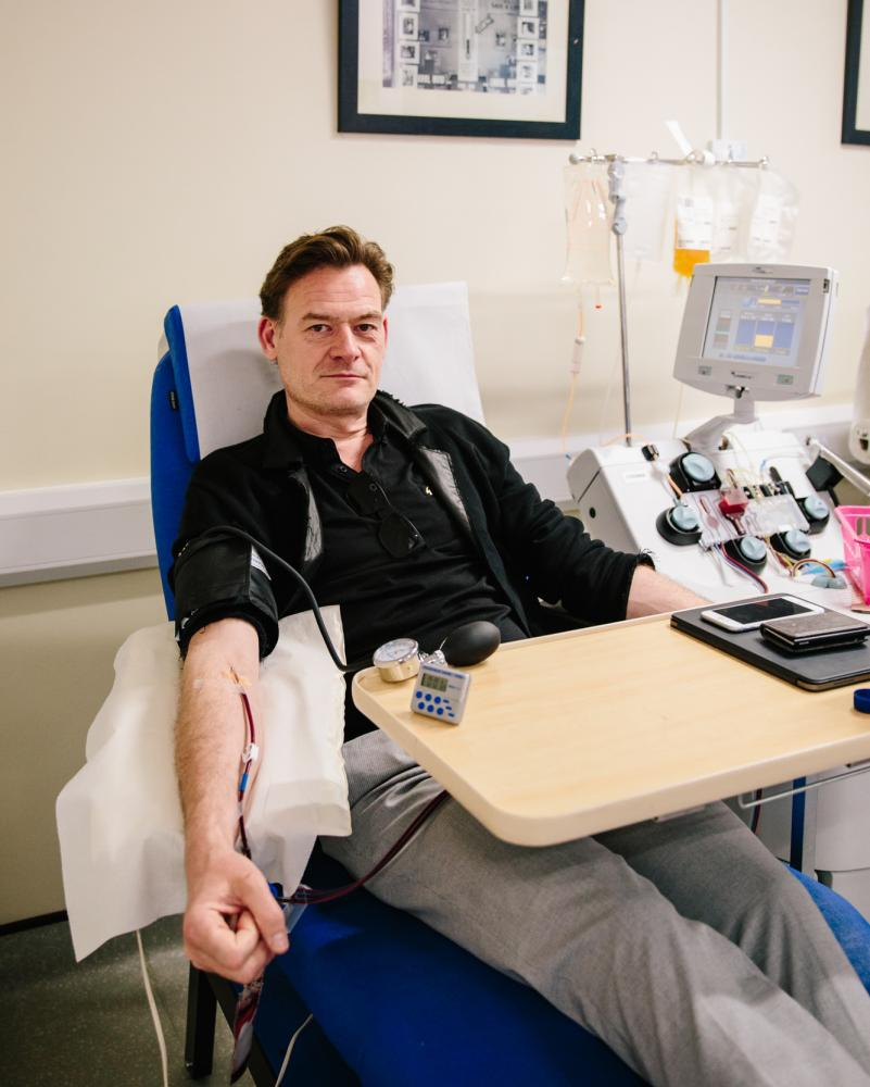 Douglas James donating convalescent plasma.