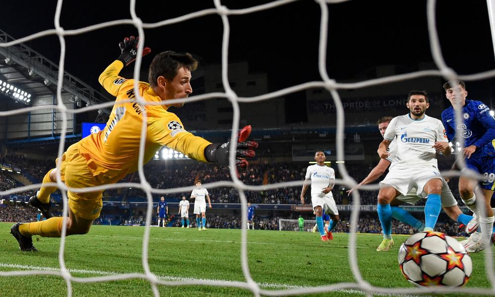 Zenit St. Petersburg's keeper Stanislav Kritsyuk cannot stop a header from Chelsea's Romelu Lukaku (not pictured) beating him for the only goal of the game.