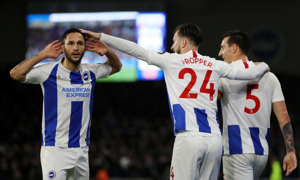 Florin Andone celebrates after scoring for the second game in succession.