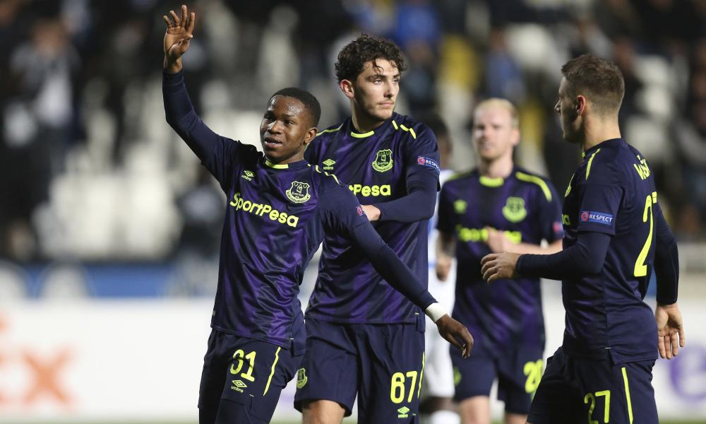 Everton's Ademola Lookman, left, celebrates his goal with his team-mates.