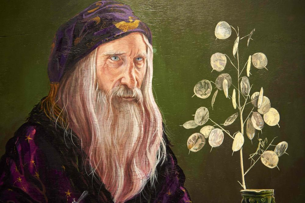 Detail of a painting of Professor Dumbledore by Jim Kay, part of the British Library's Harry Potter: A History of Magic exhibition.