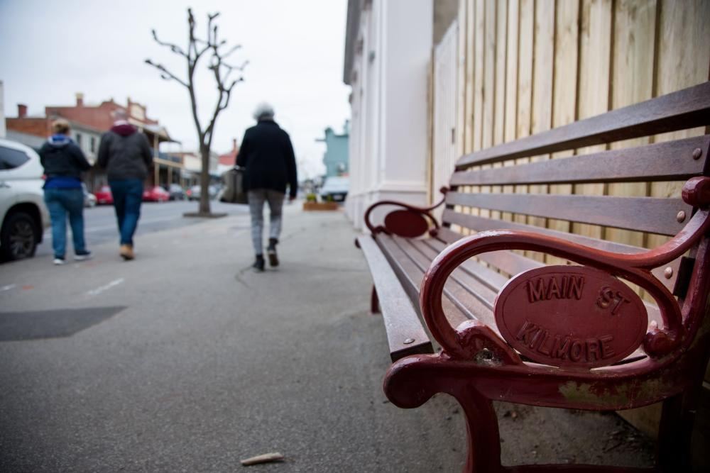 The main street in Kilmore, regional Victoria, which saw a coronavirus outbreak linked with a Melbourne resident who carried the virus into the town.